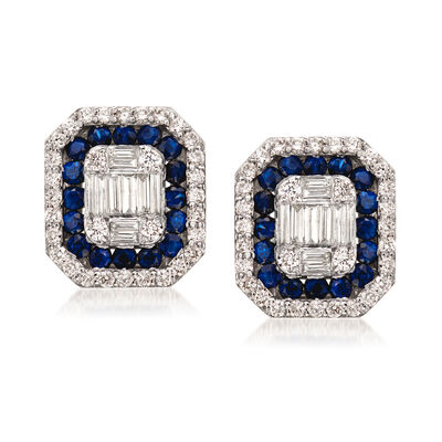 .99 ct. t.w. Sapphire and .93 ct. t.w. Diamond  Stud Earrings in 14kt White Gold, , default