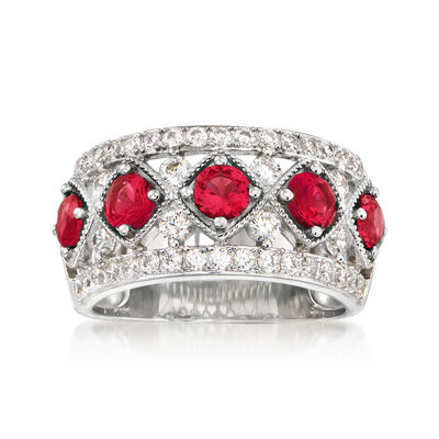 1.10 ct. t.w. Simulated Ruby and .80 ct. t.w. CZ Ring in Sterling Silver