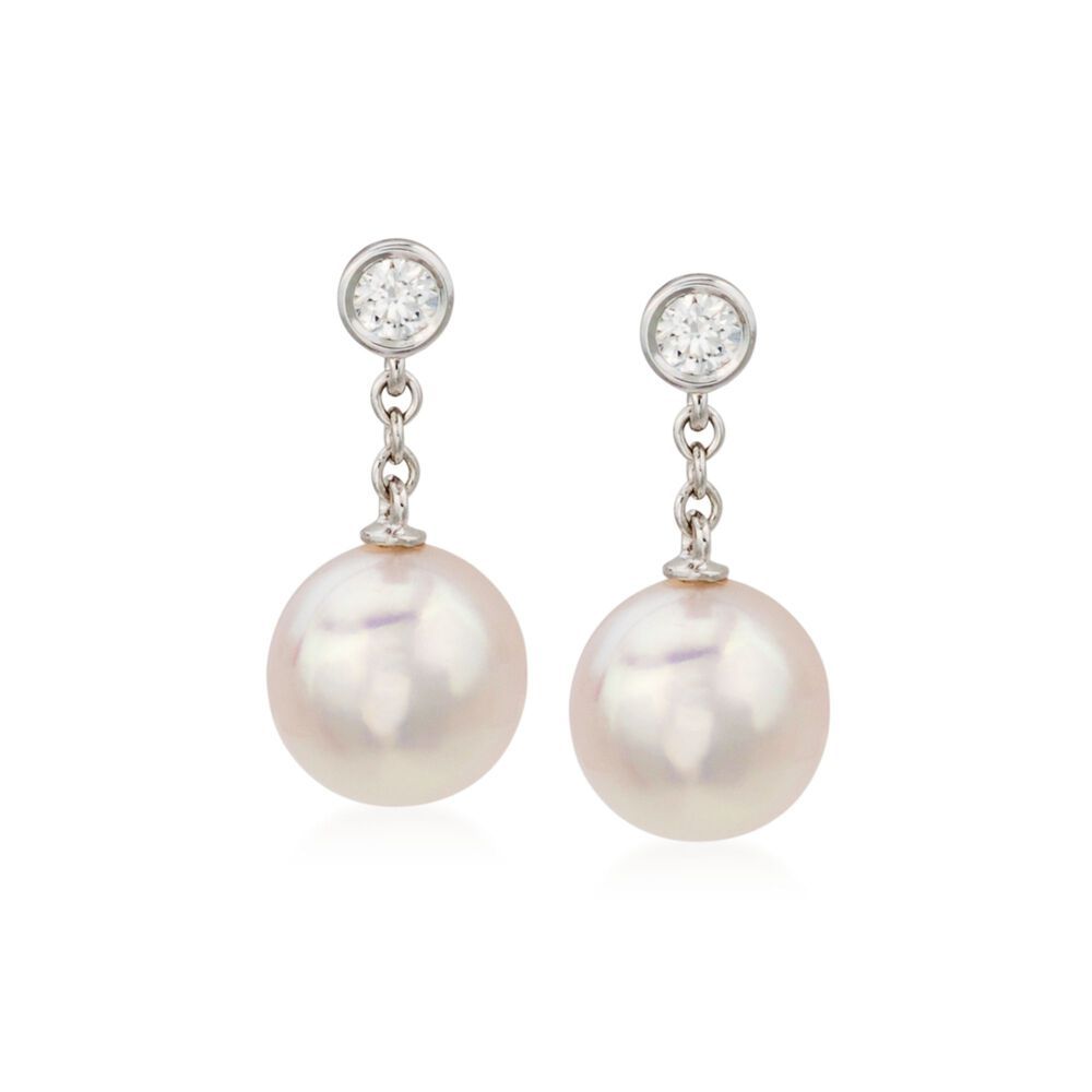 Mikimoto 8 5mm A Akoya Pearl Earrings With Diamonds In 18kt White Gold