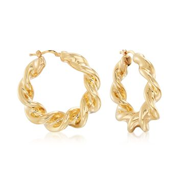 """Italian 18kt Yellow Gold Over Sterling Silver Twisted Hoop Earrings. 1 1/2"""", , default"""
