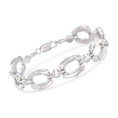 Italian Sterling Silver Polished Link Bracelet, , default