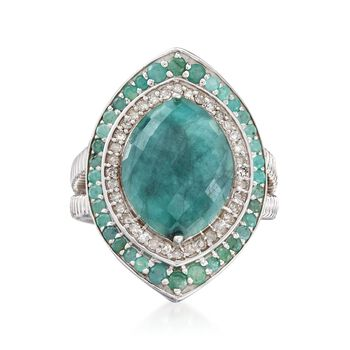 6.10 ct. t.w. Emerald and .32 ct. t.w. Diamond Marquise Ring in Sterling Silver, , default