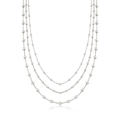 Italian 2.5-4mm Sterling Silver Multi-Strand Bead Station Necklace, , default