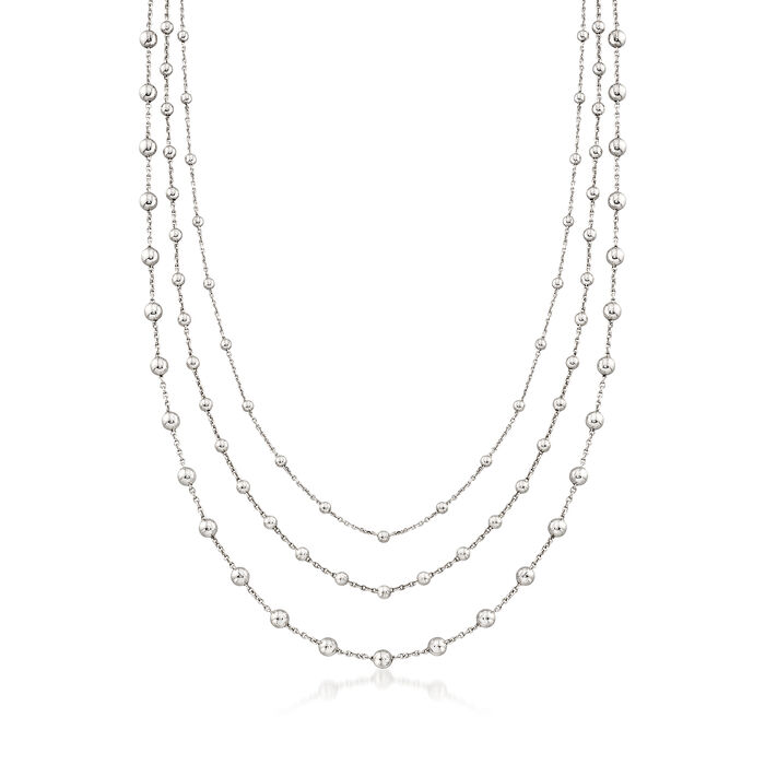 Italian 2.5-4mm Sterling Silver Multi-Strand Bead Station Necklace