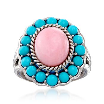 Pink Opal and Sleeping Beauty Turquoise Ring in Sterling Silver, , default