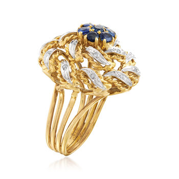 C. 1960 Vintage 1.00 ct. t.w. Sapphire and .10 ct. t.w. Diamond Flower Ring in 18kt Yellow Gold. Size 5, , default