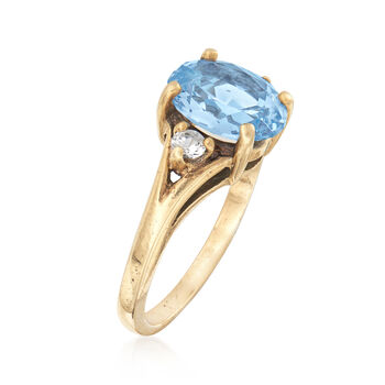 C. 1960 Vintage 2.50 Carat Blue Spinel and .16 ct. t.w. White Sapphire Ring in 10kt Yellow Gold. Size 6, , default
