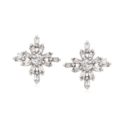 .50 ct. t.w. Diamond Snowflake Cluster Earrings in 14kt White Gold, , default
