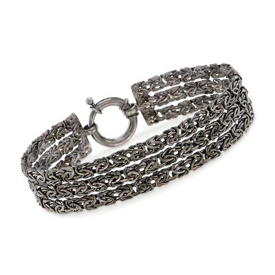 Sterling Silver Three-Row Byzantine Bracelet in Black, , default