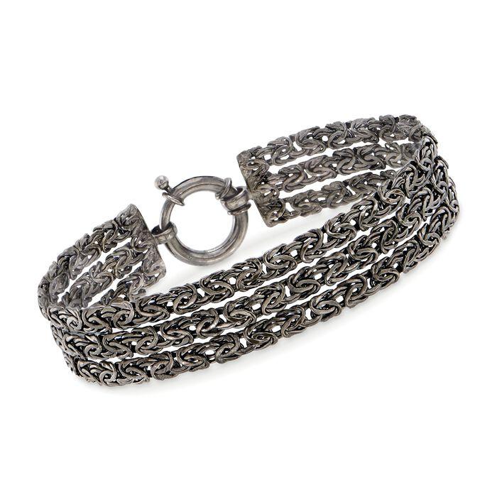 "Sterling Silver Three-Row Byzantine Bracelet in Black. 7"", , default"