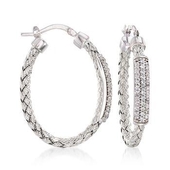 "Charles Garnier ""Nardini"" .60 ct. .W. CZ Oval Hoop Earrings in Sterling Silver. 1 1/4"", , default"