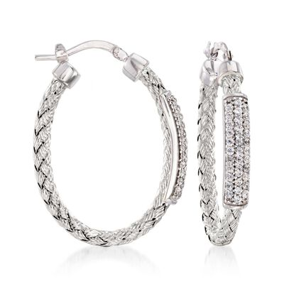 "Charles Garnier ""Nardini"" .60 ct. .W. CZ Oval Hoop Earrings in Sterling Silver, , default"