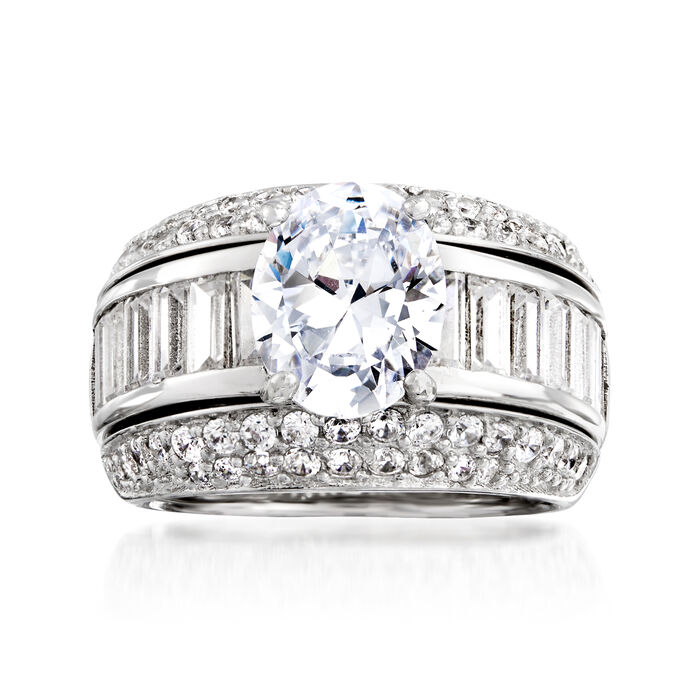 8.90 ct. t.w. CZ Jewelry Set: Ring with Guard in Sterling Silver, , default