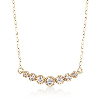 .28 ct. t.w. CZ Curved Bar Necklace in 14kt Yellow Gold, , default