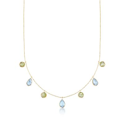 6.00 ct. t.w. Blue Topaz and 3.60 ct. t.w. Peridot Station Necklace in 14kt Yellow Gold, , default