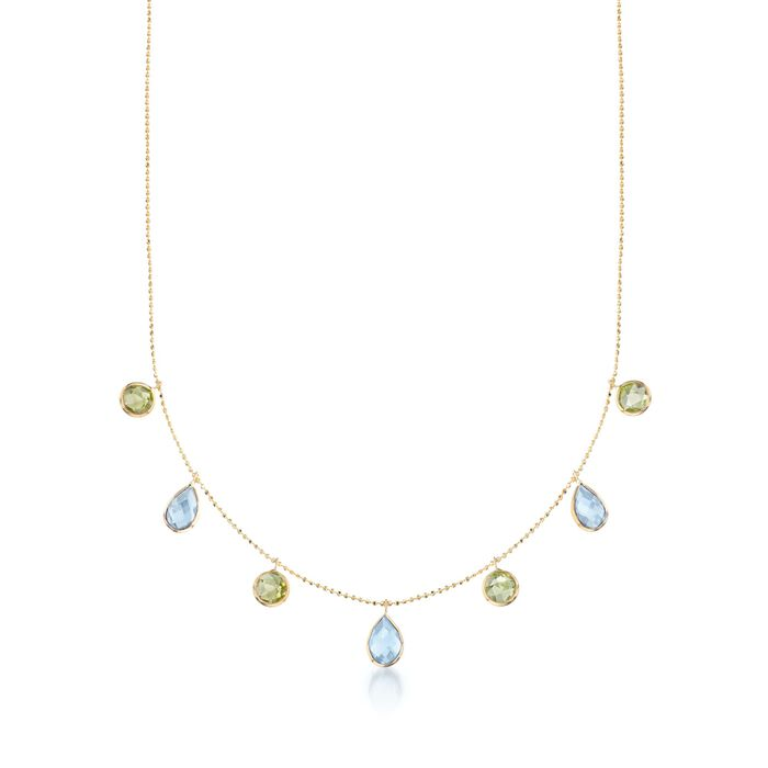 """6.00 ct. t.w. Blue Topaz and 3.60 ct. t.w. Peridot Station Necklace in 14kt Yellow Gold. 16"""", , default"""