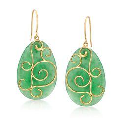Green Jade Pear-Shaped Drop Earrings in 14kt Yellow Gold, , default