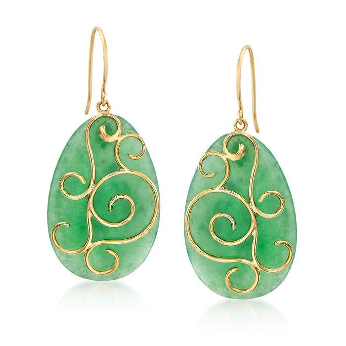 Green Jade Pear-Shaped Drop Earrings in 14kt Yellow Gold , , default