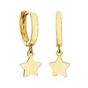Child's 14kt Yellow Gold Star Charm Hoop Earrings