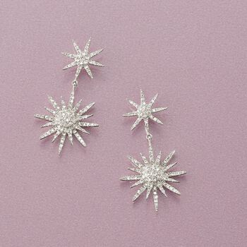".94 ct. t.w. Diamond Starburst Drop Earrings in 14kt White Gold. 1 1/8"", , default"