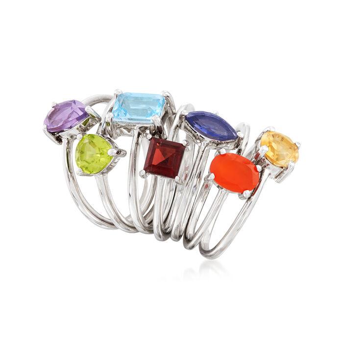 Multi-Gemstone Jewelry Set: Seven Rings in Sterling Silver