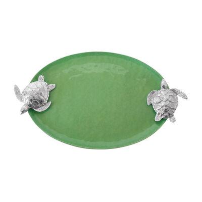 Mariposa Green Enamel Sea Turtle-Handled Serving Tray, , default