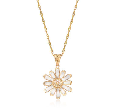White Enamel Flower Pendant Necklace in 18kt Yellow Gold, , default