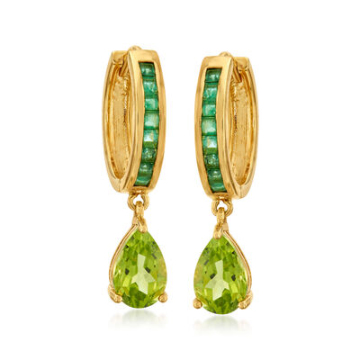 3.30 ct. t.w. Peridot and .90 ct. t.w. Emerald Hoop Earrings in 18kt Gold Over Sterling