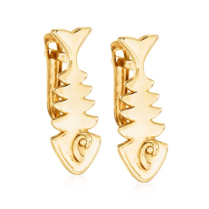 14kt Yellow Gold Fishbone Earrings