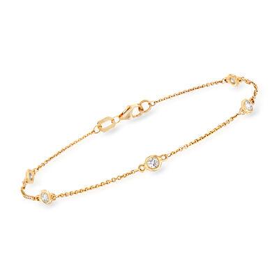 C. 2000 Vintage .34 ct. t.w. Diamond Bezel-Set Station Bracelet in 14kt Yellow Gold