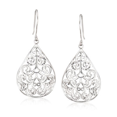 Sterling Silver Diamond-Cut and Polished Openwork Teardrop Earrings, , default
