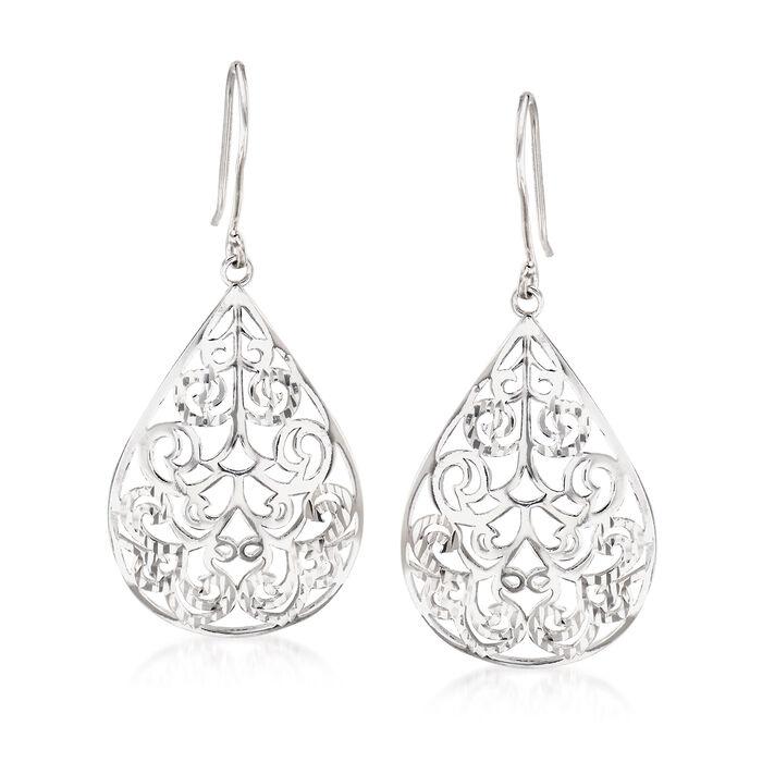 Sterling Silver Diamond-Cut and Polished Openwork Teardrop Earrings