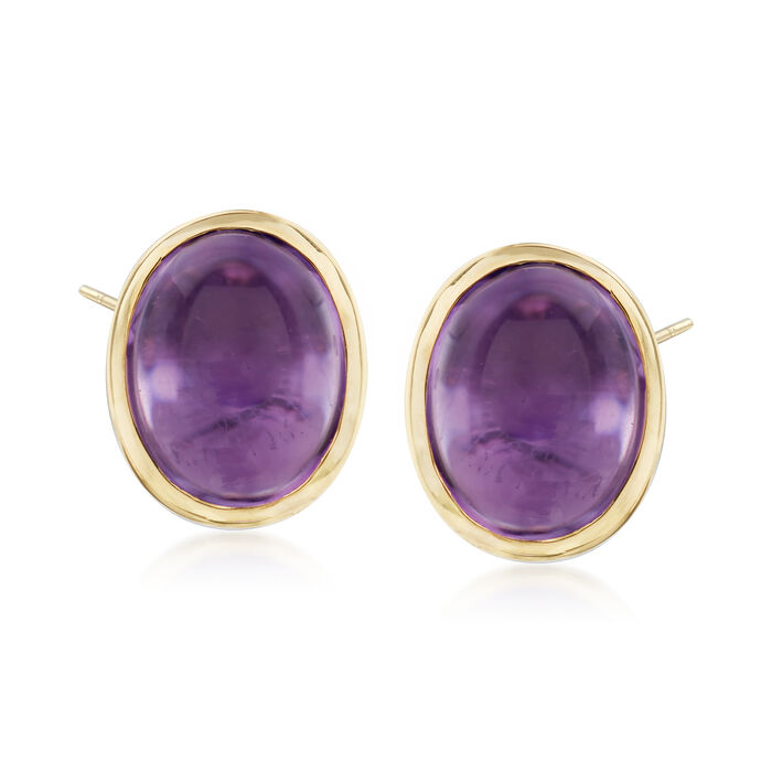 5.00 ct. t.w. Bezel-Set Amethyst Earrings in Sterling Silver and 14kt Yellow Gold