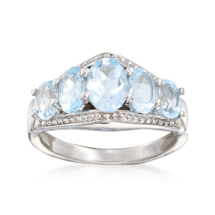 2.70 ct. t.w. Blue Topaz Five-Stone Ring in Sterling Silver, , default