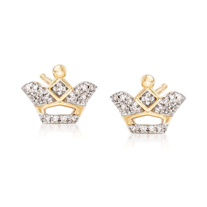 Crown Earrings with Diamond Accents in 14kt Yellow Gold