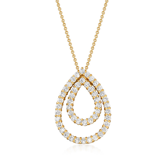 "C. 1980 Vintage 2.50 ct. t.w. Diamond Teardrop Pendant Necklace in 14kt Yellow Gold. 16"", , default"