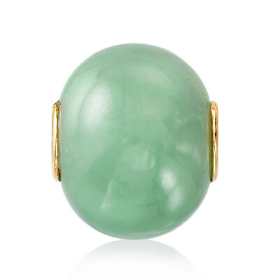 16mm Green Jade Bead Pendant in 14kt Yellow Gold