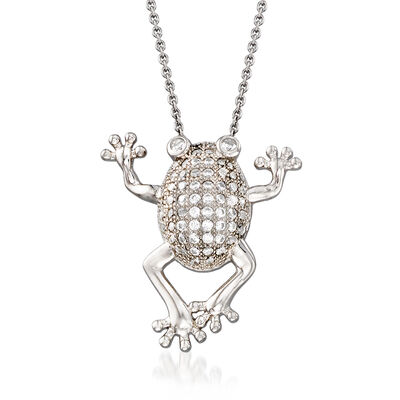 .43 ct. t.w. CZ Jumping Frog Necklace in Sterling Silver, , default