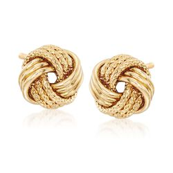 18kt Yellow Gold Textured Love Knot Earrings , , default