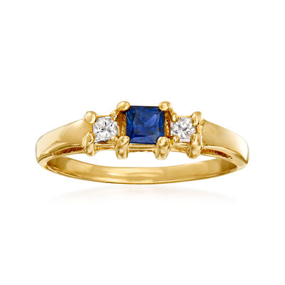 C. 1980 Vintage .35 Carat Sapphire and .15 ct. t.w. Diamond Ring in 14kt Yellow Gold