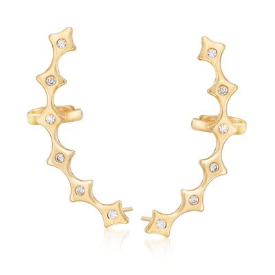 Italian .35 ct. t.w. CZ Scalloped Ear Crawlers in 24kt Gold Over Sterling, , default