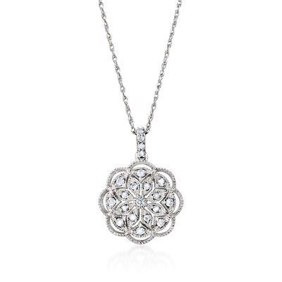 .25 ct. t.w. Diamond Floral Pendant Necklace in Sterling Silver