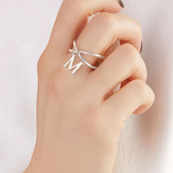 Sterling Silver Initial Charm Crisscross Ring