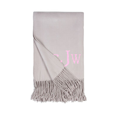 Dove Grey Fringe Throw Blanket, , default