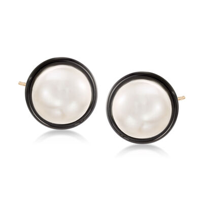 10mm Cultured Pearl and Black Onyx Earrings in 14kt Yellow Gold, , default