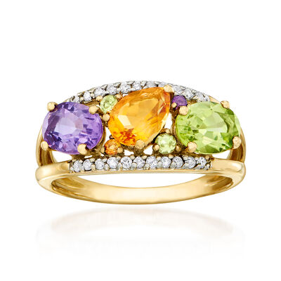 2.50 ct. t.w. Multi-Gemstone and .14 ct. t.w. Diamond Ring in 14kt Yellow Gold