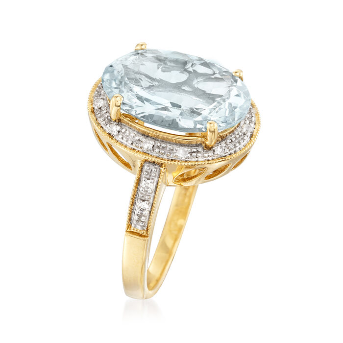 4.20 Carat Aquamarine Ring with Diamond Accents in 14kt Yellow Gold