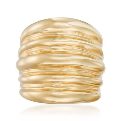 Italian 18kt Yellow Gold Over Sterling Silver Ribbed Ring, , default