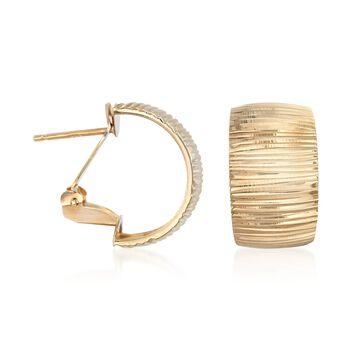 """Italian 18kt Yellow Gold Wide Striped Hoop Earrings. 1/2"""", , default"""