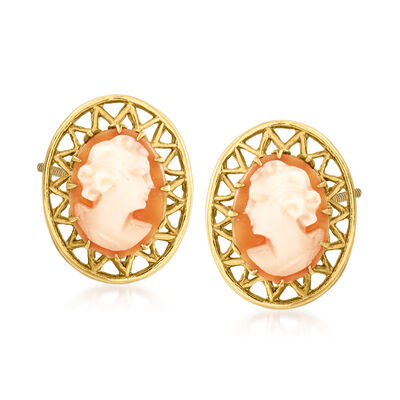 C. 1950 Vintage Pink Shell Cameo Earrings in 10kt Yellow Gold